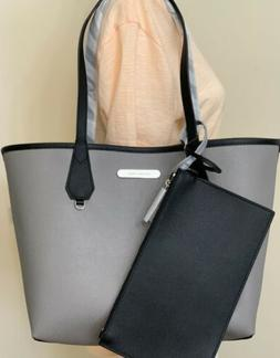 Michael Kors Candy Black Grey Leather Reversible Tote