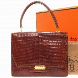 Hermes Intage Crocodile Marron Or Visserie Sacs à Main Sac