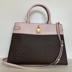Neuf Michael Kors Gramercy Grand Sac Cartable Marron / Poudr